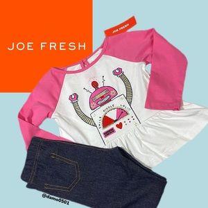 NWT Joe Fresh Girls Laughing 😆 Robot 2 Piece Set